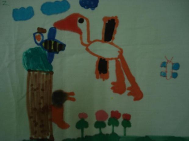 rysunki bocianów wykonane przez dzieci z przedszkola integracyjnego w Łodzi, po oglądaniu bocianów w internecie